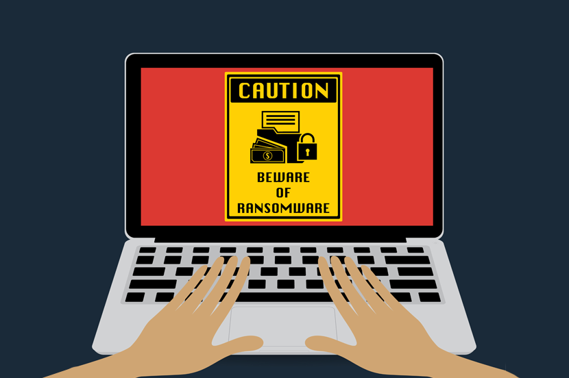 an illustration of a laptop with the words caution on it